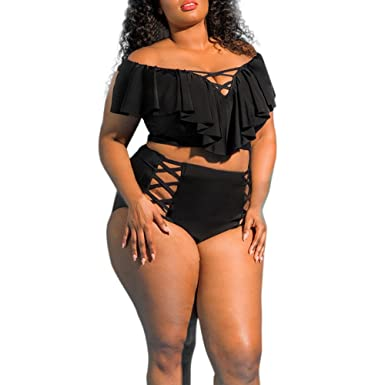 5edfae0ec51a9 Xavigio_Swimsuit Women's Sexy Ruffle Two Piece Plus Size Swimwear Bathing  Suits Swimsuit Beachwear Black