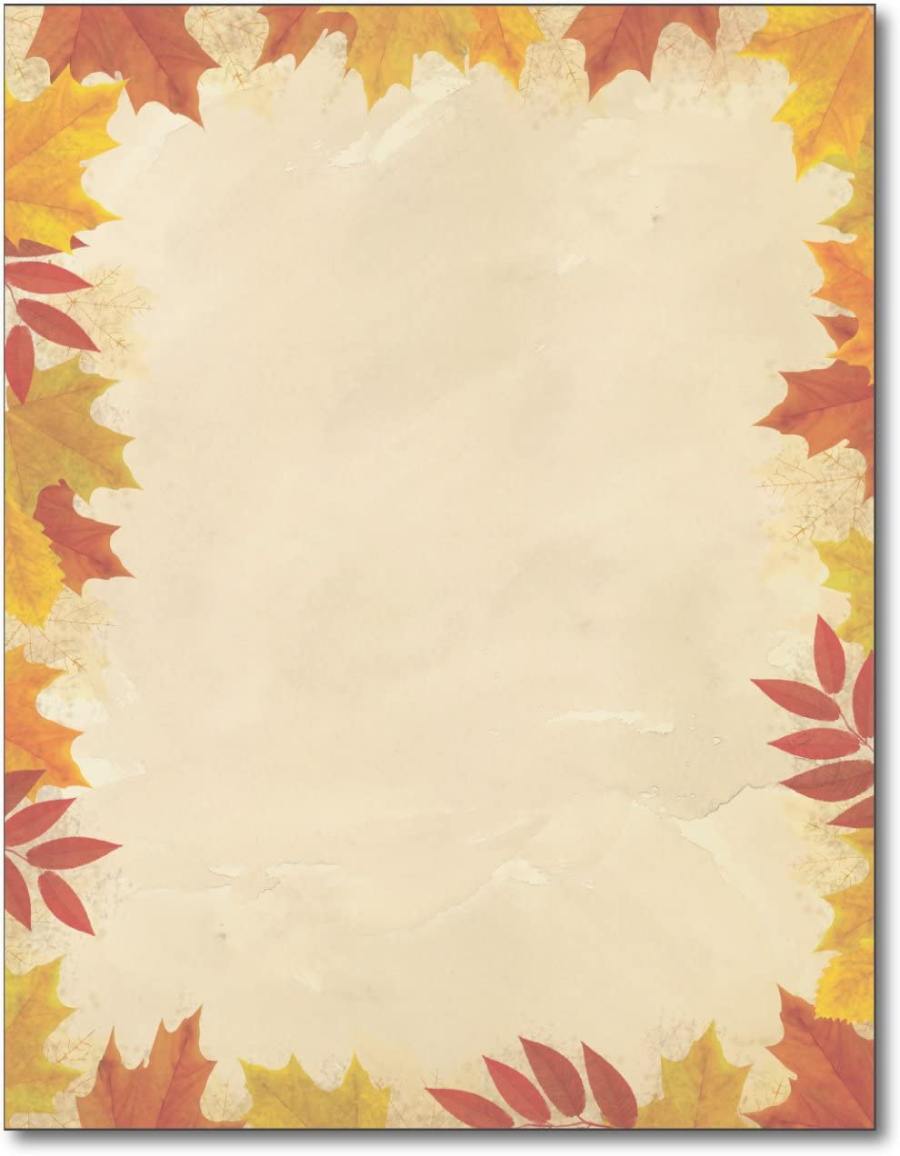 Autumn Leaves Border Stationery - 80 Sheets