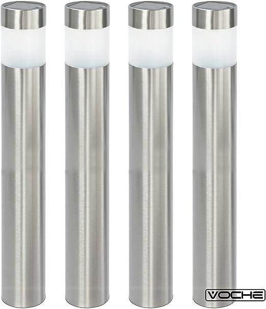 Voche® - Juego de 4 balizas led de luz blanca para exterior, tipo bolardo. Bolardo de acero inoxidable cepillado, con luz led que funciona con energía solar, para el jardín: Amazon.es: Iluminación