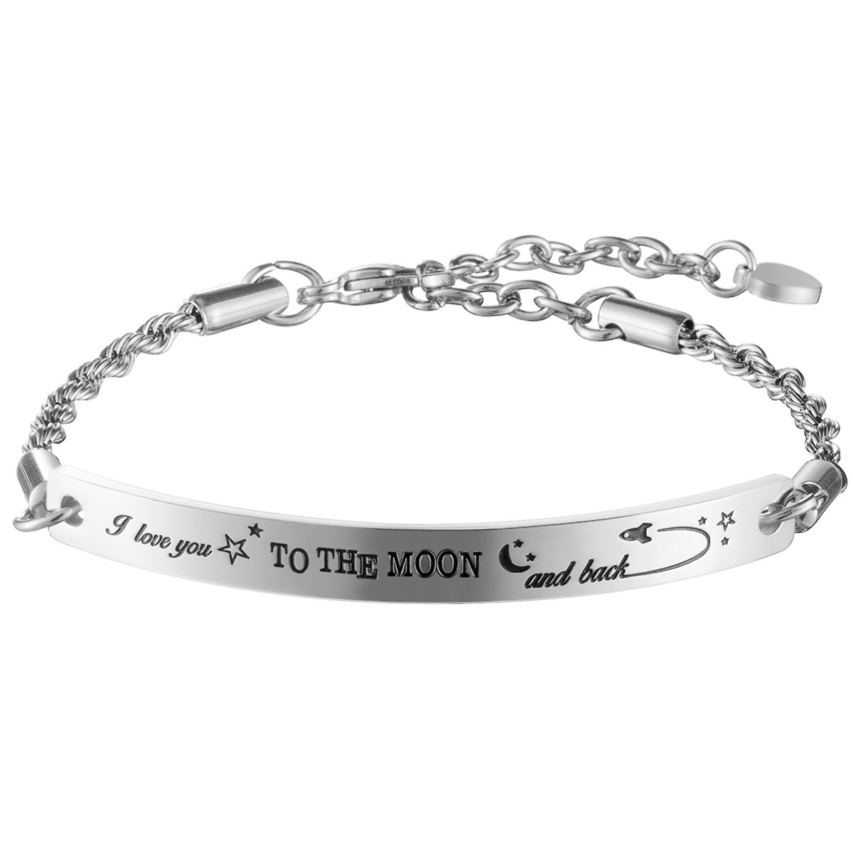 omodofo I Love You to The Moon and Back Inspirational Quoto Bar Bracelet Engraved Adjustable Chain Jewelry for Women Girls