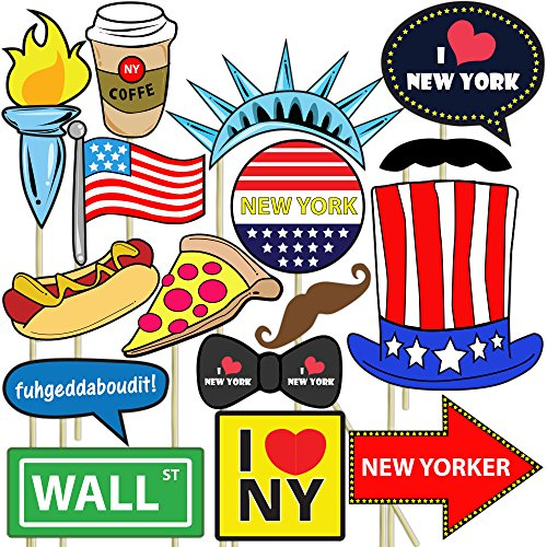 Blue Orchards New York Photo Props (32 Pieces) for Photo Booths, Selfies, Great for Birthday Parties, Proms, and More! Party Favors are Pre-Made (Not DIY) for Your Convenience! -