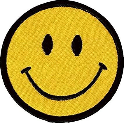 Smiley Face Patch Happy Smile Emoji Retro Hippie Embroidered Iron On Applique