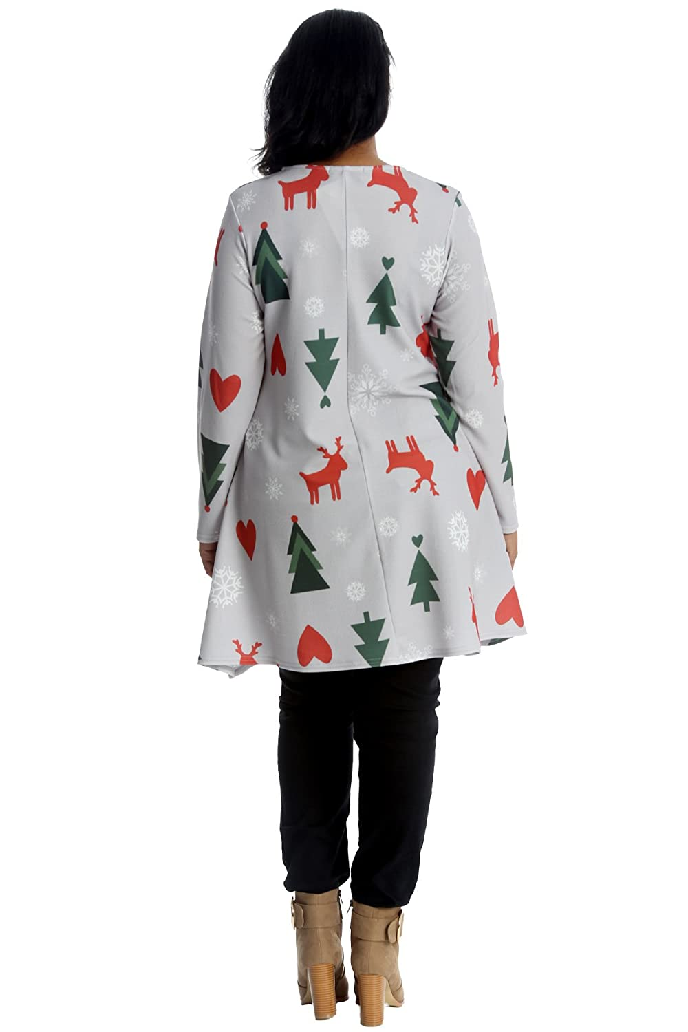 New Womens Plus Size Top Ladies Swing Tunic Christmas Cane Stocking Gingerbread