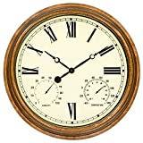 45Min 16-inch Indoor/Outdoor Retro Wall Clock with Thermometer and Hygrometer, Silent Non-Ticking Round Wall Clock Home Decor with Roman Numerals