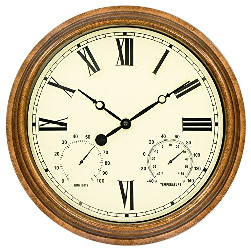 - 45Min 16-Inch Indoor/Outdoor Retro Wall Clock Thermometer Hygrometer, Silent Non-Ticking Round Wall Clock Home Decor Roman Numerals