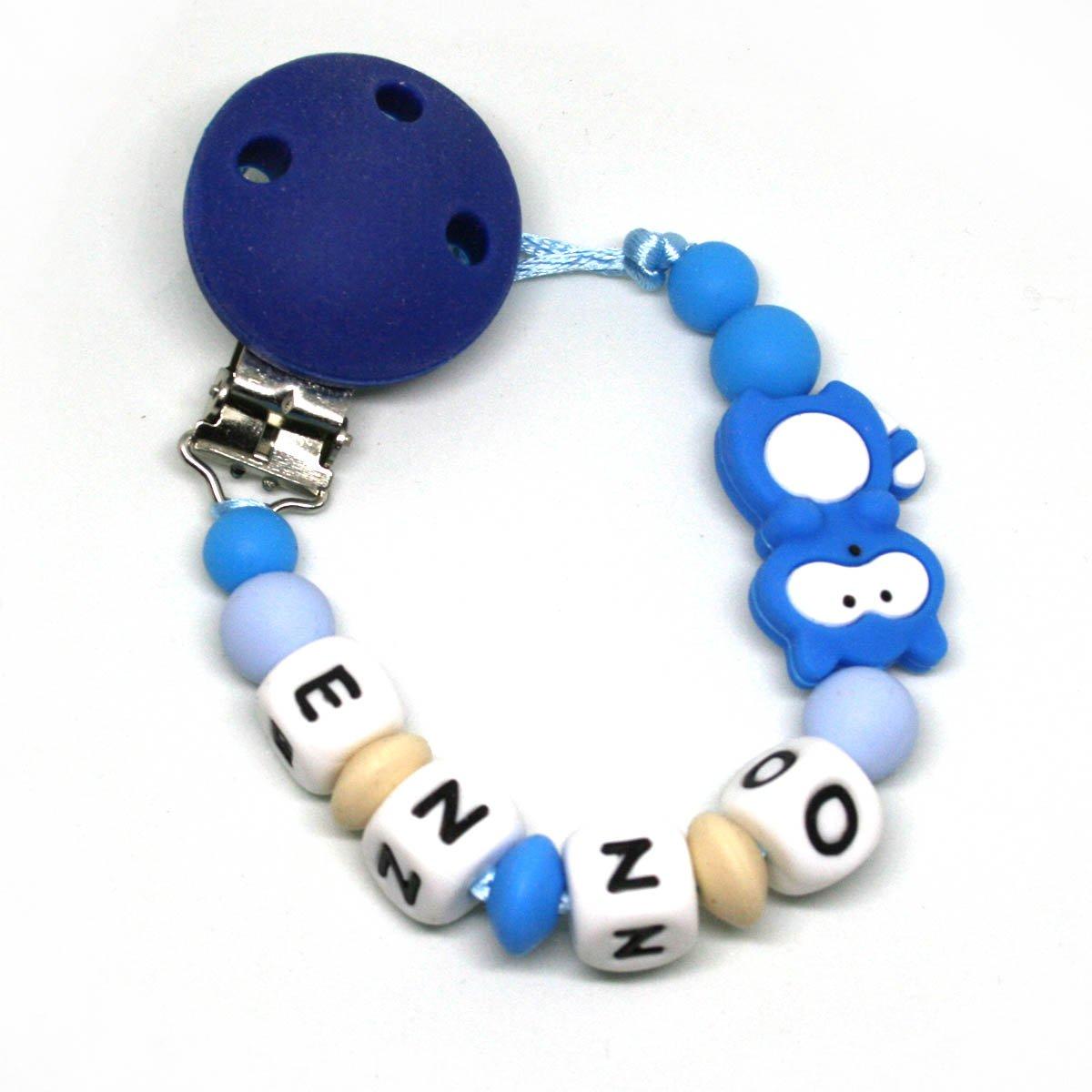 Sujeta chupetes modedor personalizado silicona Mapache Azul, para bebe con nombre, Antibaceriano Mil Cestas: Amazon.es: Bebé