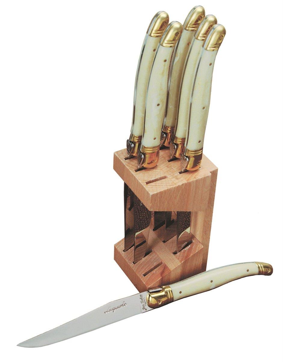 Jean Dubost 6 Steak Knives in Wood Block, Ivory French Farm JD12265-1311