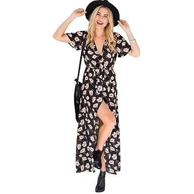 Kleider Damen Dasongff Damen Kleid V-Ausschnitt Kurzarm Blumen Aufdruck  Sommerkleid Locker Strandkleid Maxikleid Abendkleid e34dc30379