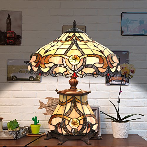 Cloud Mountain Tiffany Style Table Lamp Victorian Jeweled Desk Lamp Floral Stained Glass Home Decor Lighting - Glass Stained Glass Table Lamp
