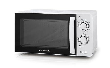 Orbegozo MIG 2030 - Microondas con grill (700 W de potencia, 20 L, grill de 900 W, 9 niveles de funcionamiento), color blanco
