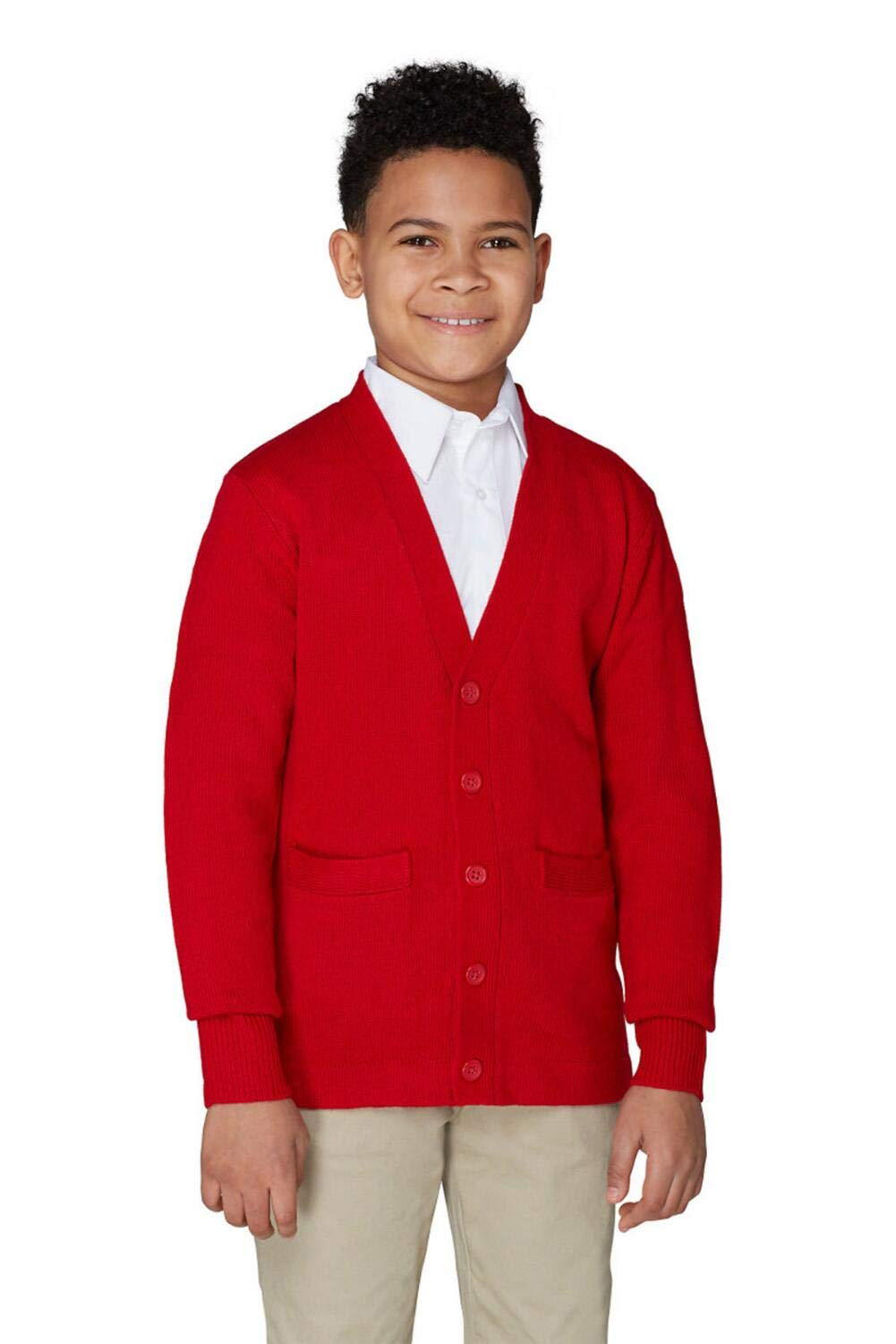 French Toast Boys' Big Anti-Pill V-Neck Cardigan, red, M (8)