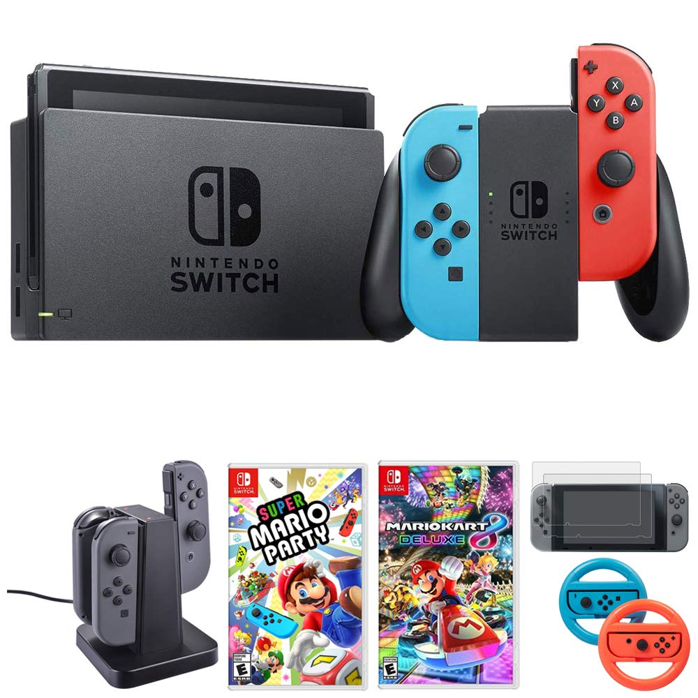 Nintendo Switch 32 GB Console w/Neon Blue and Red Joy-Con (HACSKABAA) + Gaming & Accessories Bundle Includes, Mario Kart 8 Deluxe, Super Mario Party, Joy-Con Charging Dock + More