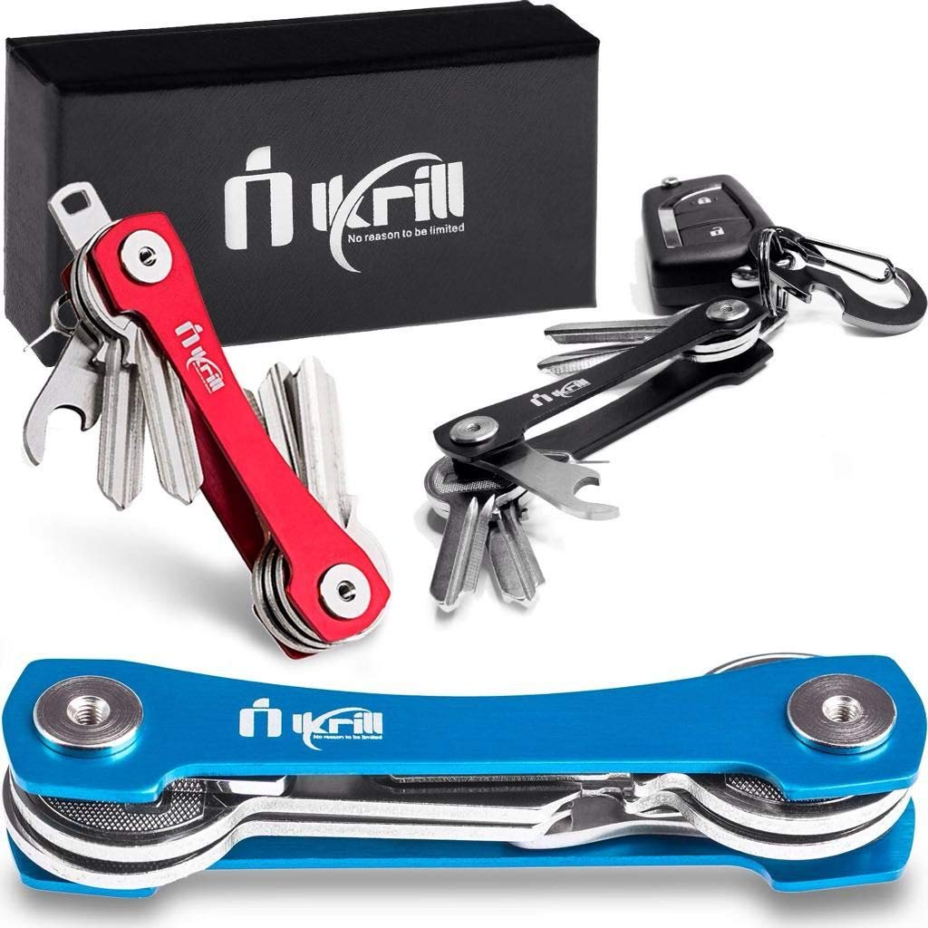 Smart Key Holder Key Chain -Pocket Key Keeper and Compact Key Organizer up to 20 Keys with Stainless Steel Screws, Sim & Bottle Opener, Carabiner, Expansion Keys Pack (Blue) by Ikrill