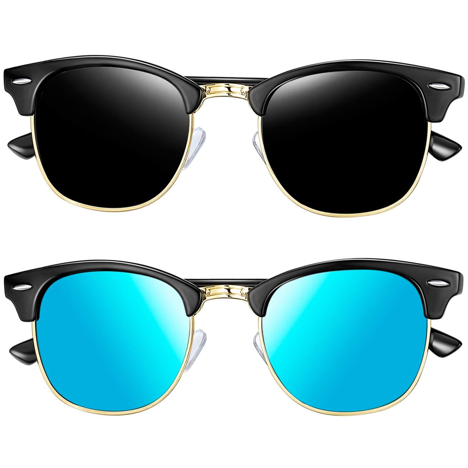 Joopin Semi-Rimless Sunglasses for Women Men, 2 Pack Horn Rimmed Half Frame Sunglasses Polarized (Black+Blue) by Joopin