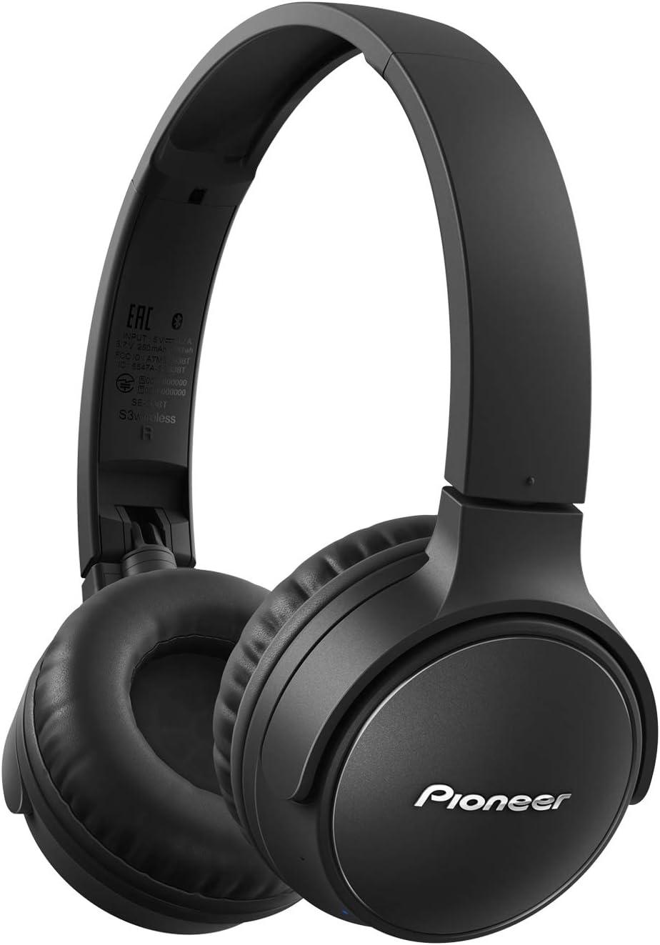 Pioneer S3wireless SE-S3BT audífonos Bluetooth 5.0, Tipo Sellado hasta 25 Horas de Uso [Importado de Japón] Negro