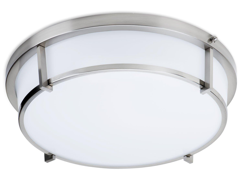 LB72110 LED Flush Mount Ceiling Light, Antique Brushed Nickel 17-Inch 3000K, Dimmable, 1600 Lumens, LED Saturn Flush Mount ETL, Energy Star