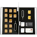 [BlueCraft] たっぷり18枚収納 SIMカード全サイズ対応アルミケース SIMカード変換アダプタセット付属 (シルバー)