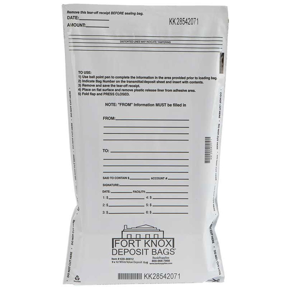 9W x 12H White Value Deposit Bags - Case of 1000