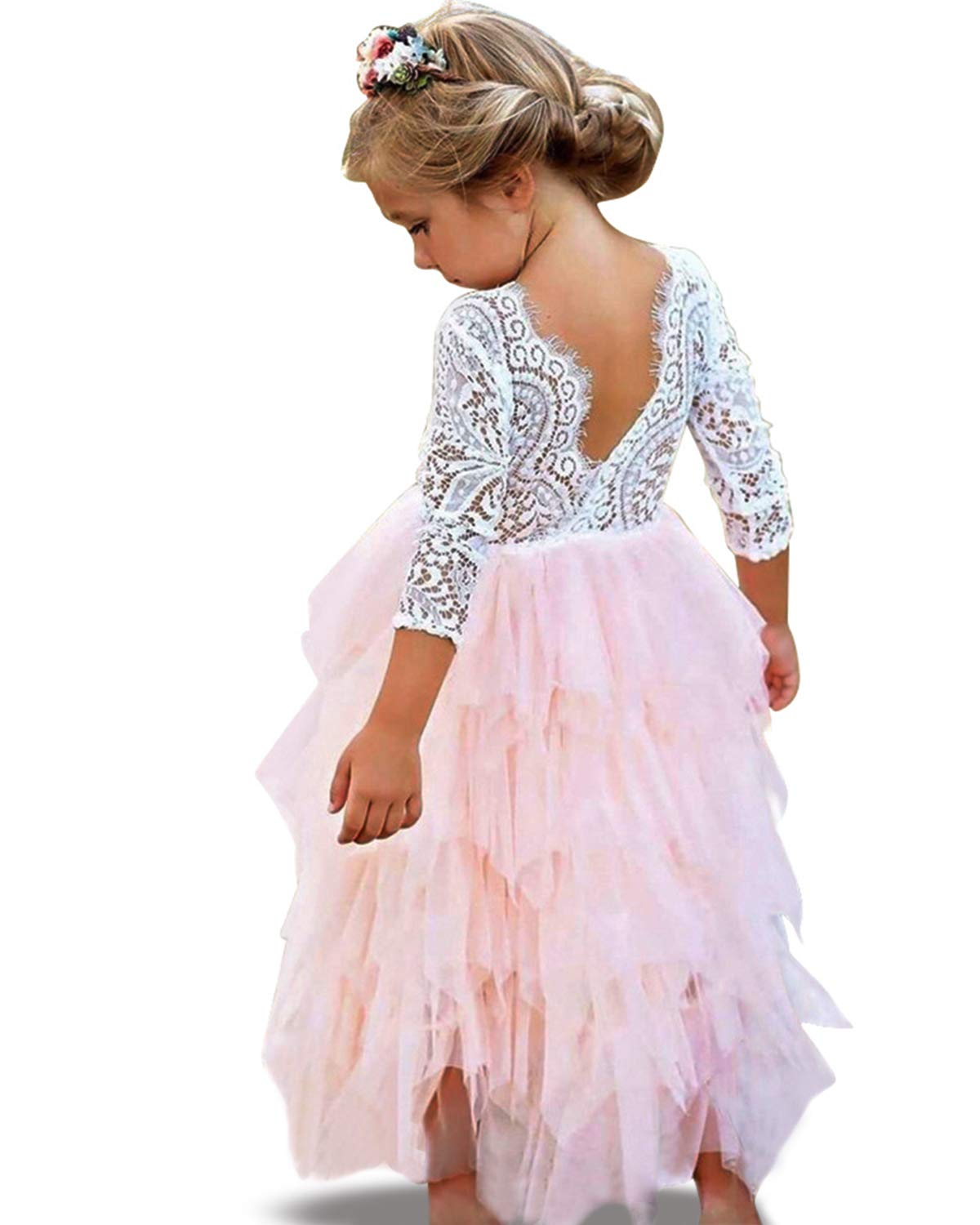 NNJXD Backless Lace Back Tutu Tulle Princess Party Dress Flower Girls Dresses Size (120) 4-5 Years Pink