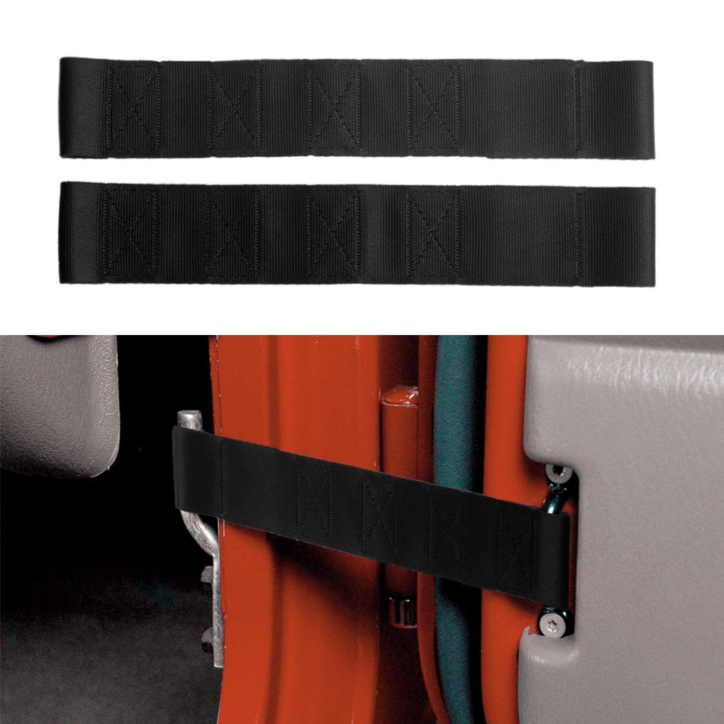 DUAL Black Heavy Duty Super Strong Car Adjustable Door Limiting Check Strap Perfect for 2000-2018 Jeep Wrangler(Pack of 2)