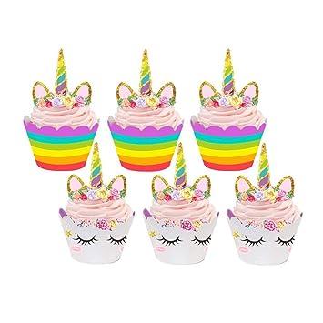 Tumao Einhorn Cupcake Toppers 24 Stucke Unicorn Kuchen Dekoration