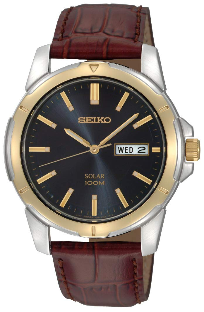 Men's SNE102 Stainless Steel Solar Watch with Brown Leather Strap, Multicolor dial