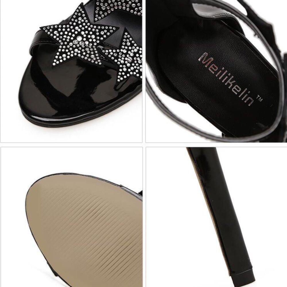 QSCG Frauen High Heels Stiletto Heel Stars Strass Kaum Kaum Kaum Da Riemen Schnalle Sandalen Work Party Fashion 8cbc81