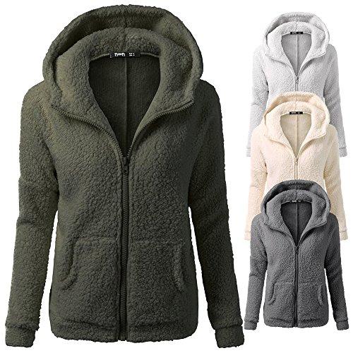 In Donna Felpa Ragazza Tumblr Cerniera Outwear Con 2 Tasche Calda Cappuccio Invernale Cappotto Beige Cotone Felpe Elecenty Da Lana t4v0qw4