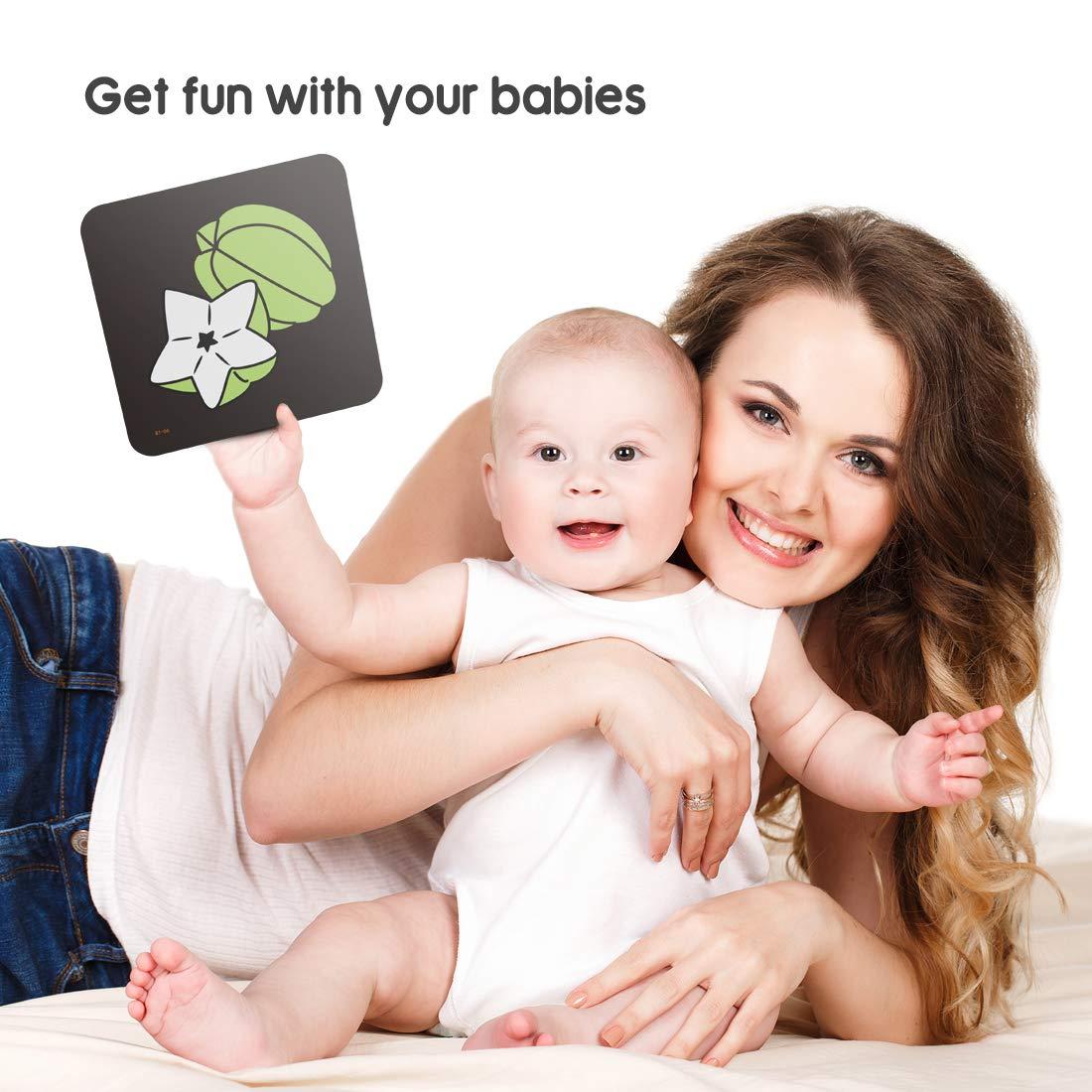 TUMAMA Schwarz Wei/ß Baby Flash Karten,Kleinkind-Baby Flash Cards mit Tieren Fruchtform Buchstabe Alphabet Zahlen Lernkarten,Neugeborene Aktivit/ät Spielzeug Geschenk f/ür Baby Kleinkind,Kleinkinder
