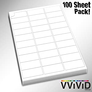 VViViD Premium Self-Adhesive Peel-and-Stick Printable Blank White 3x10 Label Pack (100 Sheet Pack)