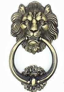 UniDecor Large Antique Bronze Lion Door Knocker Lion Head Front Door Handle (Economic Type)