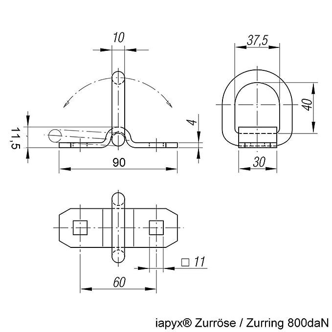 iapyx /® 800daN Lashing Ring Mounting Ring 4 Piece Set