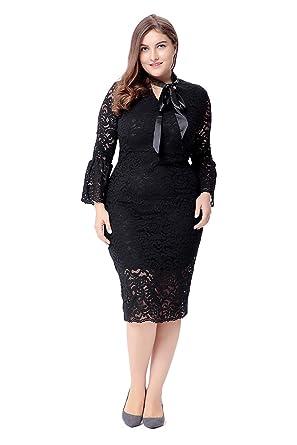 a7ea0cc0314 Lalagen Women s Plus Size Floral Lace Formal Bridesmaid Wedding Party Dress  Black XL