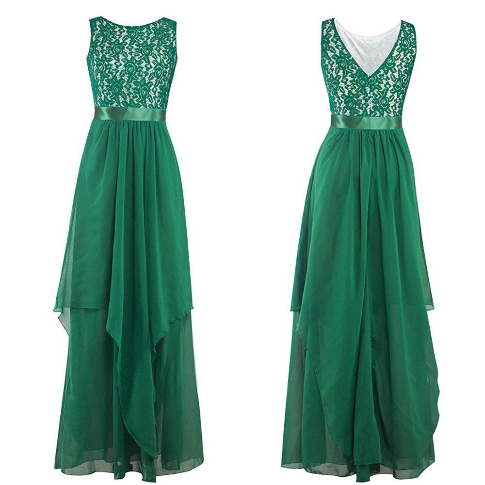 Zainafacai Women Elegant Ball Formal Gown Flowy Long Bridesmaid Maxi Dress (Green, XL)