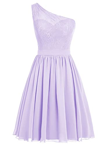 Dresstells® Short Prom Dress One Shoulder Bridesmaid Dress Lace Homecoming Gown