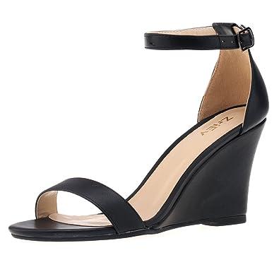 ff288e19f9f ZriEy Women s Ankle Strap Buckle Mid Wedge Platform Heeled Sandals 8CM  Summer Dress Sandals Pump Shoes