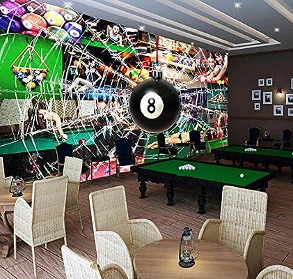 MGQSS Papel pintado Mural Mesa de billar tridimensional Auto-adhesivo De PVC 3D Cartel Fotos Las paredes Arte De dibujos animados Los personajes Juego Tema Chico Chica A casa Decorac (W)500x(H)375 cm: Amazon.es: