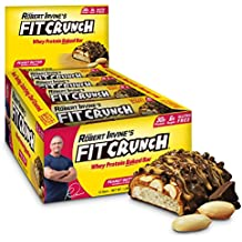 FITCRUNCH Protein Bars   Designed by Robert Irvine   World's Only 6-Layer Baked Bar   Just 6g of Sugar & Soft Cake Core (12 Bars, Peanut Butter)