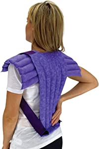 Nature Creation- Set of Upper Body Wrap Heating Pad + Spine & Back Herbal Pack - Reusable Hot & Cold Therapy (Purple Marble)