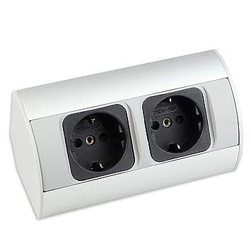 Steckdose für Küche und Büro – hochwertige Ecksteckdose aus Aluminium ideal  für Arbeitsplatte, Tischsteckdose oder Unterbausteckdose mit 2-fach ...