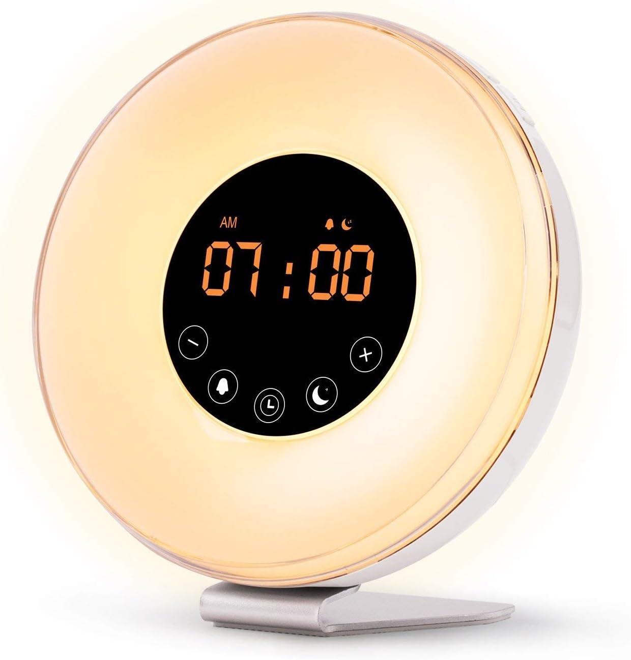 B00077AA60 River City Clocks Wake Up Light Digital Alarm Clock with Sunrise Simulation - 6 Nature Sounds, FM Radio, Sunset Fading Night Light for Bedside and Kids, Sunrise Digital Alarm Clock for Heavy Sleepers 61oo24HVsJL.SL1500_