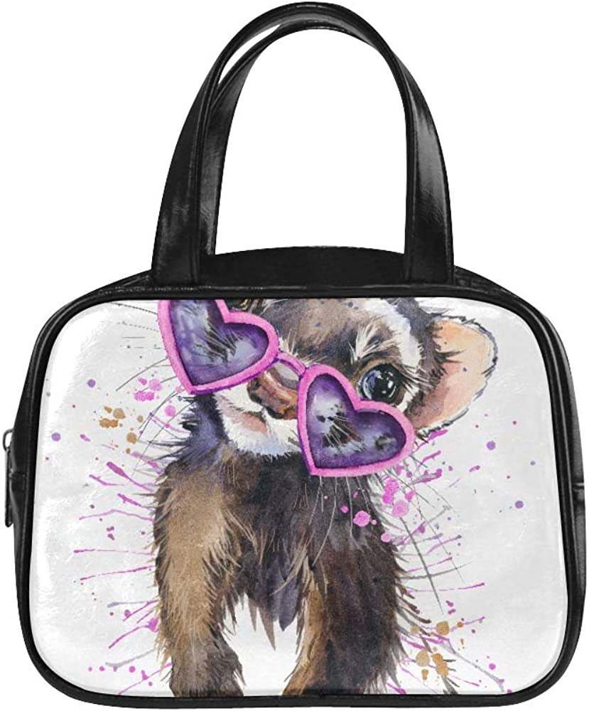 Llevar Bolso Hurón Acuarela Ilustración Cute Marten Fashion Totes Bag Mens Bolso Pu Leather Top Handle Satchel Fashion Bags For Girls