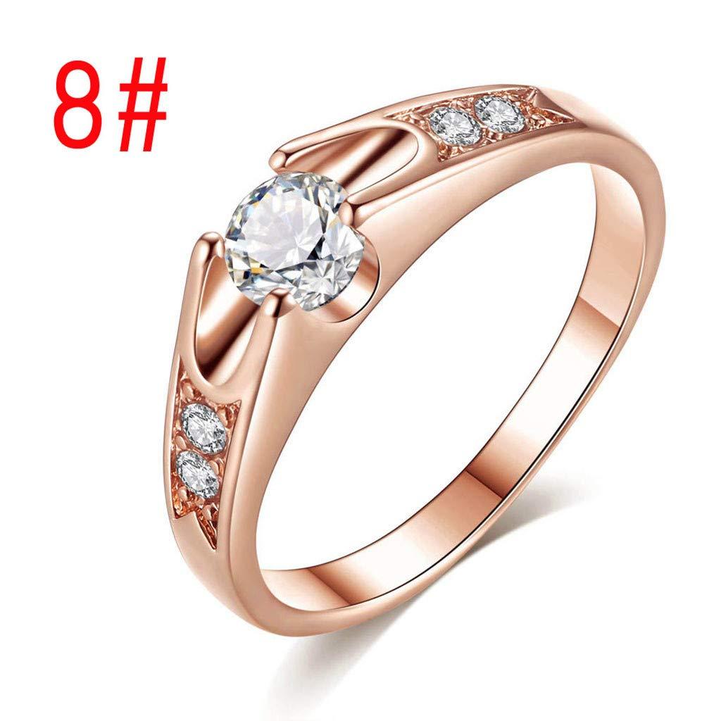 2019 New Women Popular Round Zircon Micro-Inlaid Lover Wedding Ring Jewelry Valentines Day Gifts for Girlfriend Boyfriend