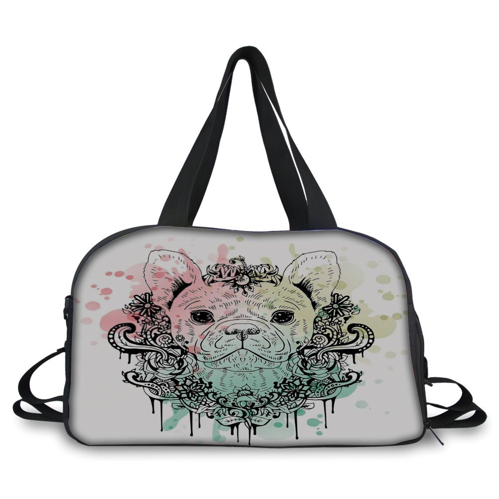 Travelling bag,Animal,French Bulldog with Floral Wreath on Brushstroke Watercolor Print,Mint Light Pink Pale Green ,Personalized