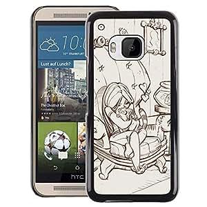A-type Arte & diseño plástico duro Fundas Cover Cubre Hard Case Cover para HTC One M9 (Cute Girl Drawing Sketch Cartoon Art)