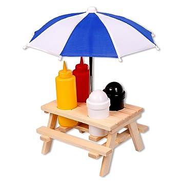 schramm - Especiero mesa de picnic con sombrilla Menage Mostaza dispensador de sal pimienta Ketchup Heinz BBQ Menage estante soporte Condimentos 6 piezas: ...