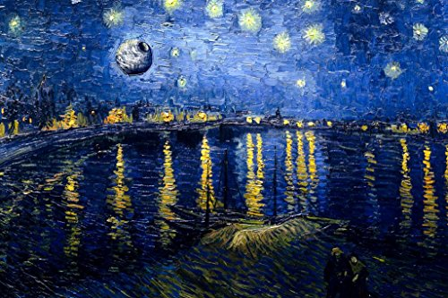 (Death Star Starry Night Over The Rhone Van Gogh Art Humor Poster 36x24 inch)