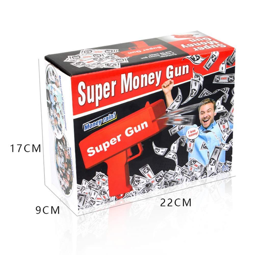 Alagoo Super Money Guns Paper Playing Spary Money Gun Make it Rain Toy Gun, Handheld Cash Gun Fake Bill Dispenser Money Shooter with 100 Pcs Play Money(Metallic Gold) by Alagoo (Image #8)