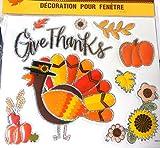 Metallic Edged Fall Stickers Reusable Window Decals for Thanksgiving/Autumn Decoration Decor (Turkey 9 Window Stickers)
