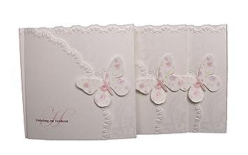 Einladungskarte Hochzeit Schmetterling 15er Pack